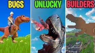 DINOSAURS HAVE COME TO SEASON 5! BUGS vs UNLUCKY vs BUILDERS - Fortnite Battle Royale Funny Moments