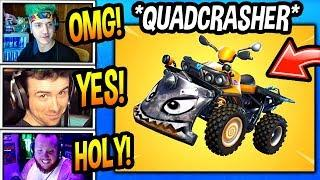 """STREAMERS REACT TO *NEW* """"QUAD CRASHER"""" VEHICLE! *DRIVE THROUGH WALLS* Fortnite FUNNY Moments"""