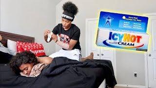 ICY HOT MASSAGE PRANK ON GIRLFRIEND!!! (SHE FREAKS OUT)