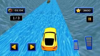 Water Slide Sports Cars Extreme Stunts - Gameplay Android game - Stunts simulator game