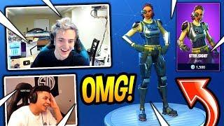 NINJA AND MYTH REACT TO *NEW* STEELSIGHT SKIN! SHE THICC! Fortnite SAVAGE & FUNNY Moments