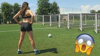 EXTREME LONG RANGE FOOTBALL CHALLENGE VS MY GIRLFRIEND!!!