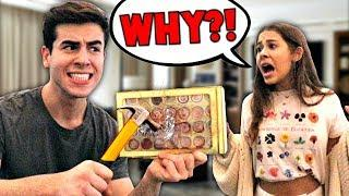 DESTROYING MY GIRLFRIEND'S EXPENSIVE MAKEUP PRANK!! **BAD IDEA**