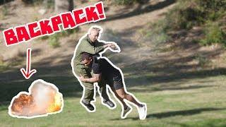 BAIT BACKPACK ON FIRE PRANK!!