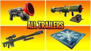 Fortnite All *NEW ITEM* Trailers (Freeze Trap, Clinger, Heavy Sniper)