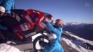 Snow Mountain Bike. Crazy descent Extreme Sports