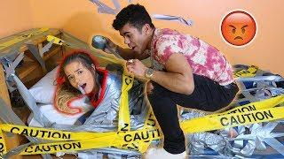 Duct Tape My Girlfriend To The Bed Prank! (She Went Off)