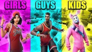 GIRLS vs GUYS vs KIDS in Fortnite Battle Royale Funny Moments! #61