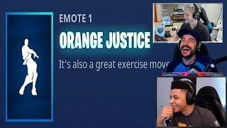 Streamers React To The Orange Justice Dance | Fortnite Highlights & Funny Moments