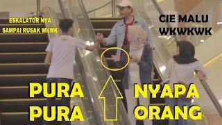 PURA-PURA NYAPA ORANG SAMPAI ESKALATOR MALL RUSAK! Ft WILLY ISNAN - Prank Indonesia Jordan Nugraha