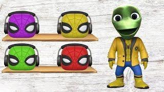 Funny Alien Dance with Wrong Heads Spiderman Learn Colors and Song for Kids