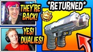 "STREAMERS REACT TO ""DUAL PISTOLS"" BACK IN FORTNITE! *LEGENDARY* Fortnite FUNNY & EPIC  Moments"