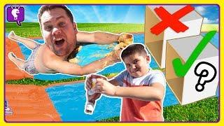 Kids PRANK Dad with Food Mystery Box SLIDE Challenge by HobbyKidsTV