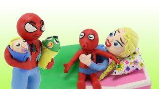 Frozen Elsa vs Spiderman Happy Has New Babies Newborn/ Funny Cartoon Animated Play Doh Stop Motion