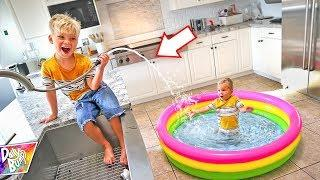 Indoor Inflatable Swimming Pool Prank! ???? (CAUGHT ON CAMERA!)