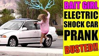 BAIT GIRL ELECTRIC SHOCK CAR PRANK!! - BUSTED!!!