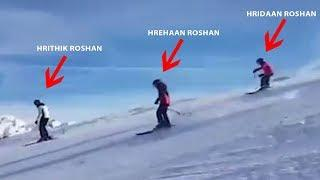 Hrithik Roshan's DAREDEVIL Skiing With Sons Hrehaan & Hridaan | FAMILY Adventure