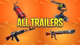Fortnite All *NEW ITEM* Trailers (TNT Bundle, Mounted Turret, Heavy AR)