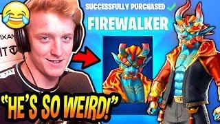 """TFUE REACTS & REFUSES TO BUY *NEW* """"FIREWALKER"""" SKIN & """"GOLDEN CLOUDS"""" WRAP! Fortnite FUNNY Moments"""