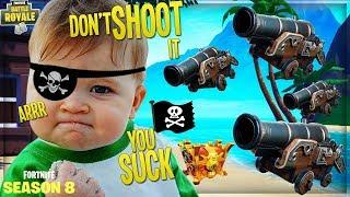 """LAUNCHING COCKY NOOB OFF THE MAP WITH """"PIRATE CANNON"""" on FORTNITE (Funny Fortnite Trolling)"""